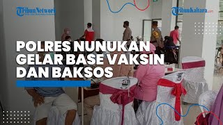 Polres Nunukan Gelar Base Vaksinasi dan Baksos Sebanyak 200 Paket Sembako untuk Warga yang Terdampak