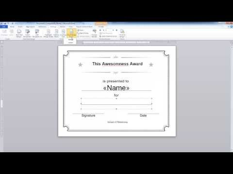 Word: Simple mail merge. Certificate example - YouTube