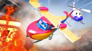 Пожарный самолёт помогает Френку тушить пожар в Автомобильном Городе - Супер Грузовик