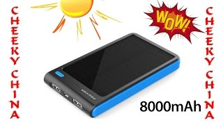 POWER BANK с солнечной батареей 8000 Mah / Внешний аккумулятор на солнечной батарее