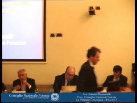 avv. Antonio Damascelli- consigliere CNF- La voluntary disclosure 19/2/2015