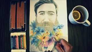 ✿ ☽ Speed Drawing: Hipster Beard Flower Men ☾ ✿