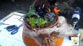 Lighted Miniature Fairy Garden On Pumpkin
