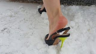 slingback and high heels sandals car stuck, high heels play, high heels in snow (scene 168)