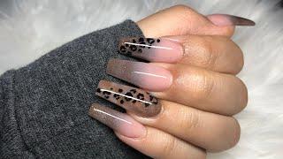 Leopard Print Nails   Fall Nails   Acrylic Nails Tutorial