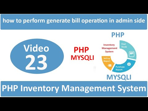 how to perform generate bill operation in admin side in php ims