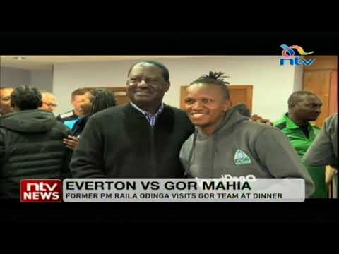 Raila Odinga surprises Gor Mahia players in Liverpool