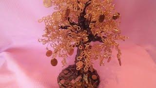Смотреть онлайн Как из бисера сделать денежное дерево
