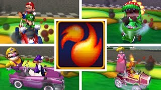 Every Character Getting BURNED BY FIREBALLS in Mario Kart Double Dash