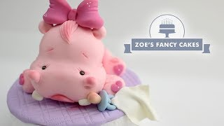 Cute hippo topper by Alessandra Caldeira, cake topper, pink, adorable.