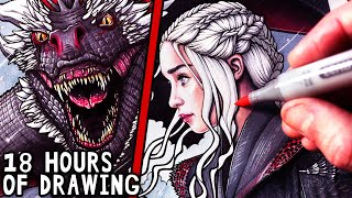 Lets Draw DAENERYS And DROGON - GAME OF THRONES - FAN ART