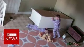 Boy, 2,  Saves Twin From Falling Furniture - BBC News