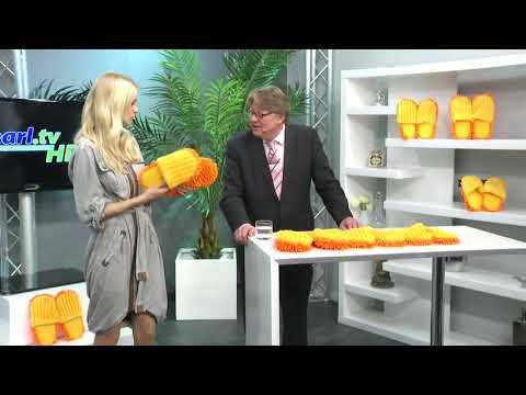 Putz-Hausschuhe mit reinigender Mikrofaser-Sohle mit Anne-Kathrin Kosch