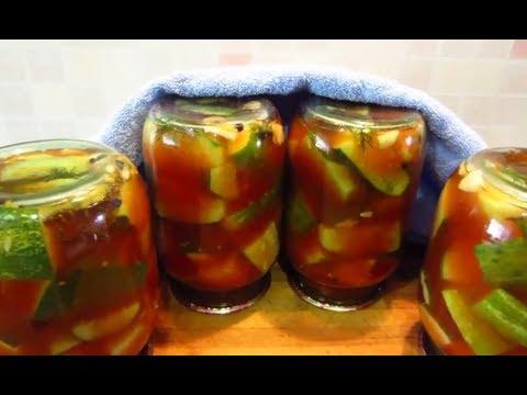Запасы на зиму! Огурцы в томатной заливке! Салат из переросших огурцов
