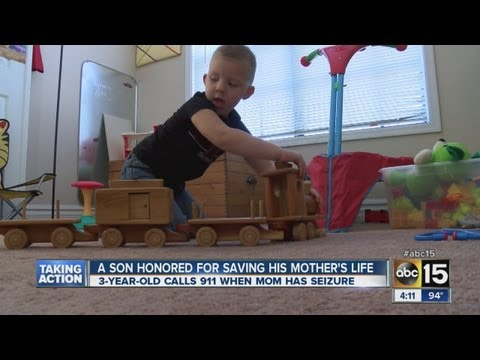 3-year-old calls 911 and saves his mom's life