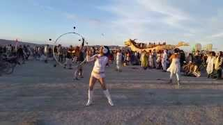 Burning Man Temple Sunrise Fire Spin 2015 to Desert Dwellers on Abraxas art car