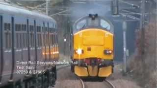 preview picture of video 'DRS 37259+37605 top and tail a NR test train at Elstree & Borehamwood 05/01/2013'