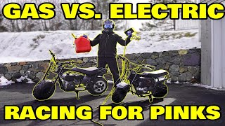 Racing DIY electric mini super bike vs Gas, Winner Takes All!