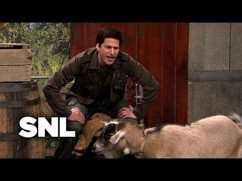"Andy Samberg's uncanny Mark Wahlberg impression in ""Mark Wahlberg talks to Animals""."