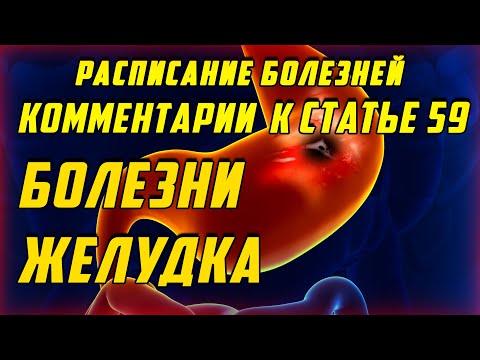 Статья 59 Другие болезни желудка и двенадцатиперстной кишки [РАСПИСАНИЕ БОЛЕЗНЕЙ]