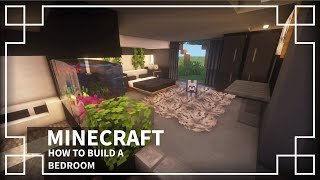 ⚒️[Minecraft Tutorial]: How To Make A Modern Bedroom With Aquarium | Dark Themed Bedroom 🖤 #3