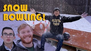 Snow Bowling On Our Backyard Bowling Lane | (Punishment)