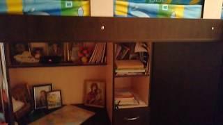 Детская кровать-чердак с выдвижным столом и угловым шкафом К29 Merabel от компании Мерабель - видео
