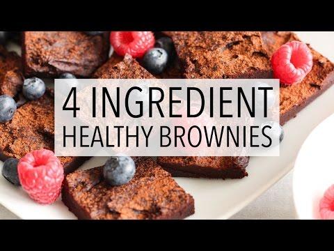 EPIC 4 INGREDIENT CHOCOLATE BROWNIES | Easy + Healthy Flourless Brownie Recipe