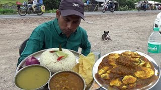 Lunch Eating Show - 4 Eggs Curry With Rice , Potol Vaja, Jhinge Torkari, Daal & Papad