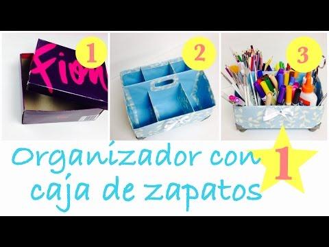 como hacer un organizador facil (con caja  de zapatos)