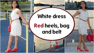 Crossdresser -  white dress and red heels, heels and bag | NatCrys