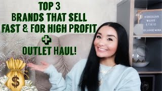 TOP 3 BRANDS that sell FAST and for HIGH PROFIT on Poshmark + Outlet HAUL