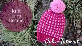 Child Size Knit Lara Beanie Pattern Tutorial