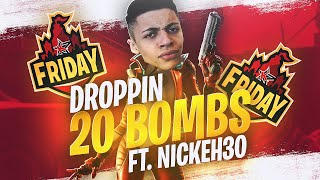 DROPPING A 20 BOMB IN FRIDAY FORTNITE! (Ft. Nick Eh 30)