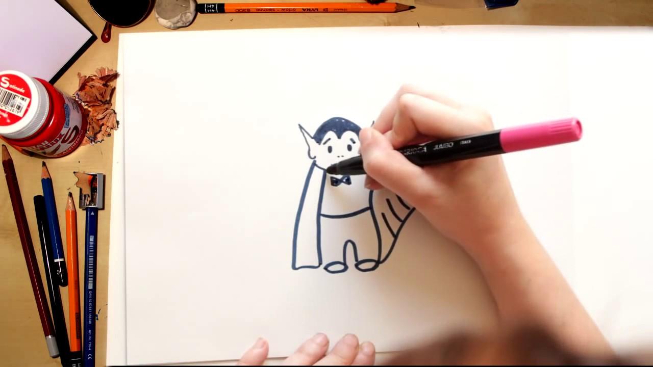 Como desenhar um Vampiro - desenhos de Halloween para crianças