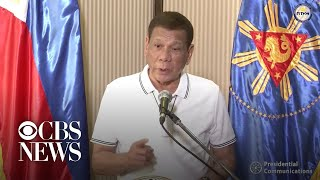 After some people in the Philippines defied a coronavirus lockdown to protest a lack of food, the country's president, Rodrigo Duterte, took to the airwaves declaring that he will order the military to shoot troublemakers dead.  Subscribe to the CBS News Channel HERE: https://bit.ly/2uz8qYE Watch CBSN live HERE: http://cbsn.ws/1PlLpZ7 Follow CBS News on Instagram HERE: https://www.instagram.com/cbsnews/ Like CBS News on Facebook HERE: http://facebook.com/cbsnews Follow CBS News on Twitter HERE: http://twitter.com/cbsnews  Get the latest news and best in original reporting from CBS News delivered to your inbox. Subscribe to newsletters HERE: http://cbsn.ws/1RqHw7T  Get your news on the go! Download CBS News mobile apps HERE: http://cbsn.ws/1Xb1WC8  Get new episodes of shows you love across devices the next day, stream CBSN and local news live, and watch full seasons of CBS fan favorites like Star Trek Discovery anytime, anywhere with CBS All Access. Try it free! http://bit.ly/1OQA29B  --- CBSN is the first digital streaming news network that will allow Internet-connected consumers to watch live, anchored news coverage on their connected TV and other devices. At launch, the network is available 24/7 and makes all of the resources of CBS News available directly on digital platforms with live, anchored coverage 15 hours each weekday. CBSN. Always On.