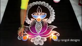Latest Diwali Diya rangoli with Lotus and kolam designs 2018 || Deepavali muggulu