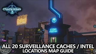 Crackdown 3 - All 20 Surveillance Caches / Intel Fragments - Locations Map Guide
