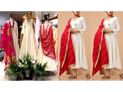Latest WHITE SUIT with CONTRAST DUPATTA Designs/Plain White Kurta Plazzo Dupatta Set/Fashion Essence