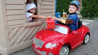 Drive Thru Pretend Play Restaurant on Kids Power Wheels!