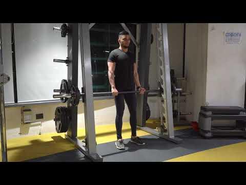 Smith machine stiff leg deadlifts