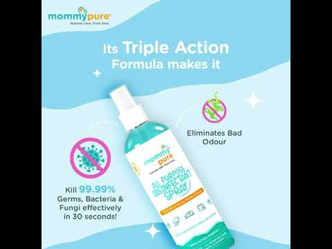 All Purpose Disinfectant Spray , Stay Clean Stay Safe Kill 99.99% Video Its triple Action Formula, All Purpose Disinfectant Spray, Disinfectant Spray, Mommypure All Purpose Disinfectant Spray