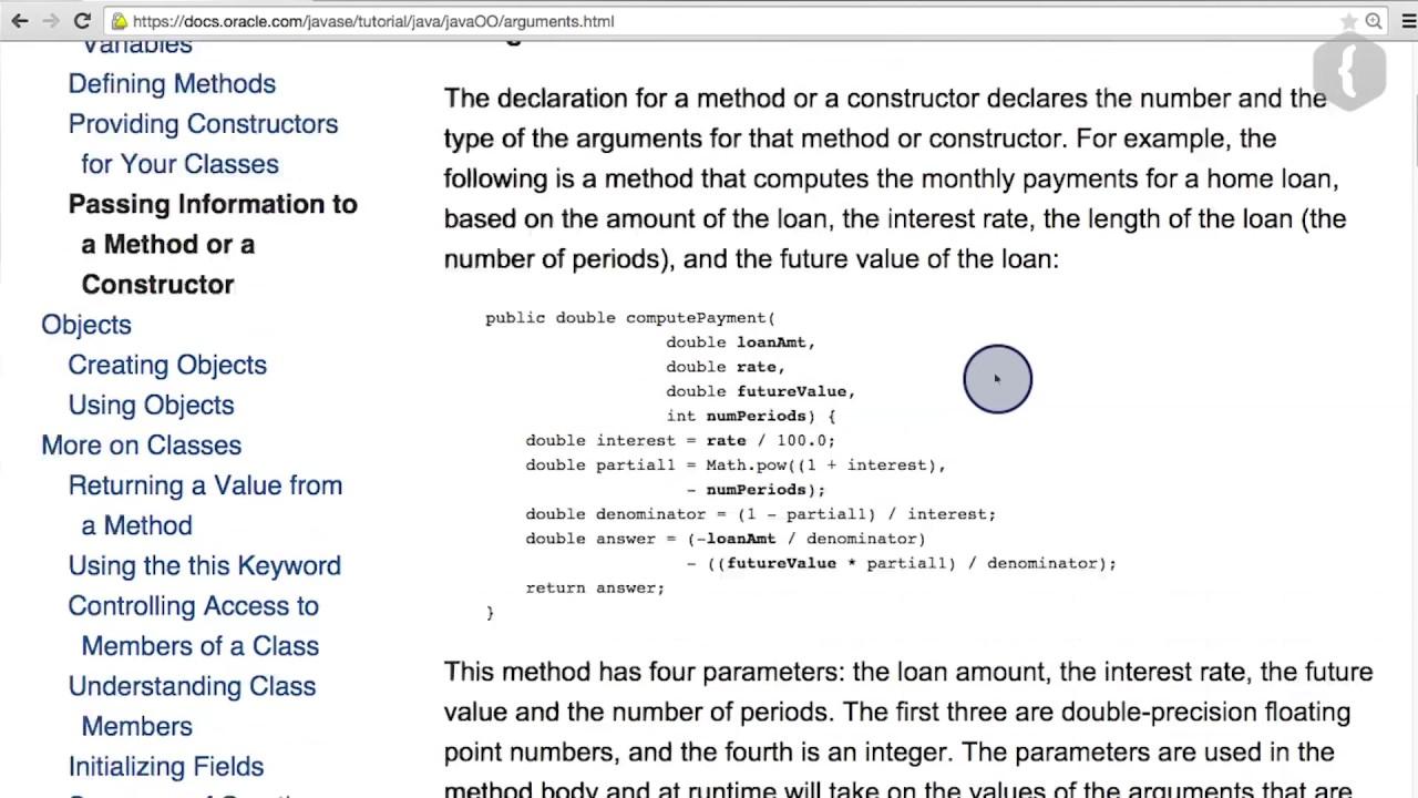 Входные параметры метода - 1