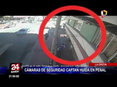 """Cámaras de seguridad captaron huida en penal """"La Oroya"""""""