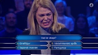 """Det blev känslosamt i Postkodmiljonären när Fanny skulle svara på frågan """"Vad är okapi?"""". Tårarna börjar rinna och Rickard Sjöberg förstår inte vad som hänt. Efter att inspelningarna avbrutits så förklarar Fanny om den känslosamma frågan. Se hela programmet: https://www.tv4play.se/program/postkodmiljonären/11979516"""