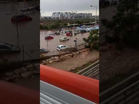 הצפה טוטאלית באזור תחנת הרכבת הרצליה • התחנה נסגרה