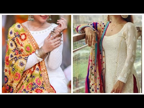 White kurti with contrast dupatta design ideas,white suit design punjabi,heavy dupatta setting style