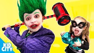 The Joker and Harley Quinn Halloween Super-Villains Gear Test and Family Game | KIDCITY