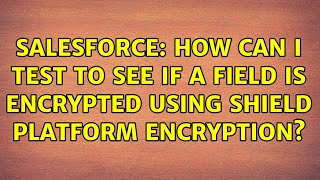 Salesforce: How can I test to see if a field is encrypted using Shield Platform Encryption?