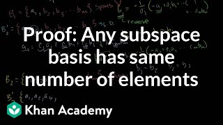 Proof: Any subspace basis has same number of elements
